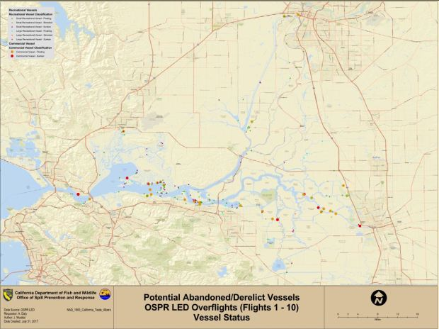 A map of abandoned and derelict vessels craeted by the California Department of Fish and Wildlife Office of Spill Prevention and Response in 2017. (Courtesy of the California Department of Fish and Wildlife)