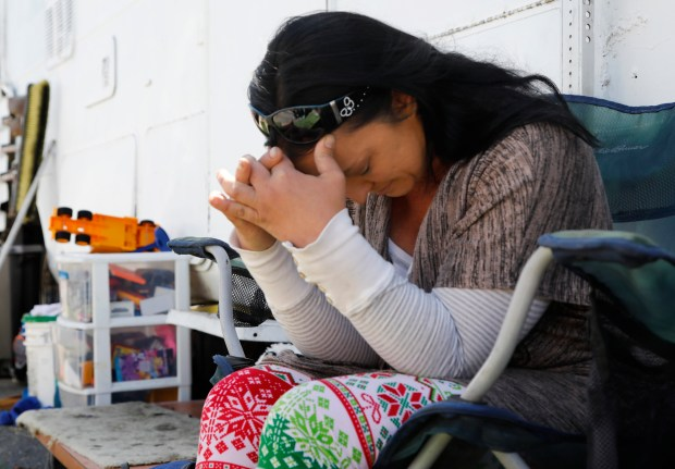 Leah Naomi Gonzales pauses while talking about her fight to survive in a broken RV with her family in the parking lot of Hs Lordship restaurant in Berkeley, Calif., on Monday, June 11, 2018. Gonzales and her family tried everything they could to stay off the streets while battling illness. (Laura A. Oda/Bay Area News Group)