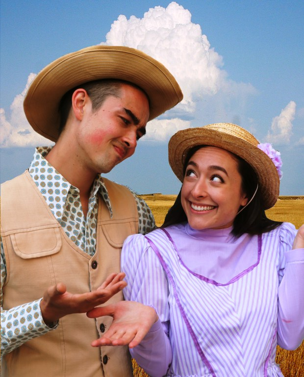 "Natalie Fong/Woodminster Summer MusicalsOscar Tsukayama as Will Parker and Gina Velez as Ado Annie provide some comedy in Natalie Fong/Woodminster Summer Musicals' ""Oklahoma!"" This production, featuring a cast of 47 plus a live professional orchestra, celebrates the 75th anniversary of the Broadway opening of this Rodgers and Hammerstein classic. The show runs July 6-9 and July 12-15 at Oakland's historic Woodminster Amphitheater."