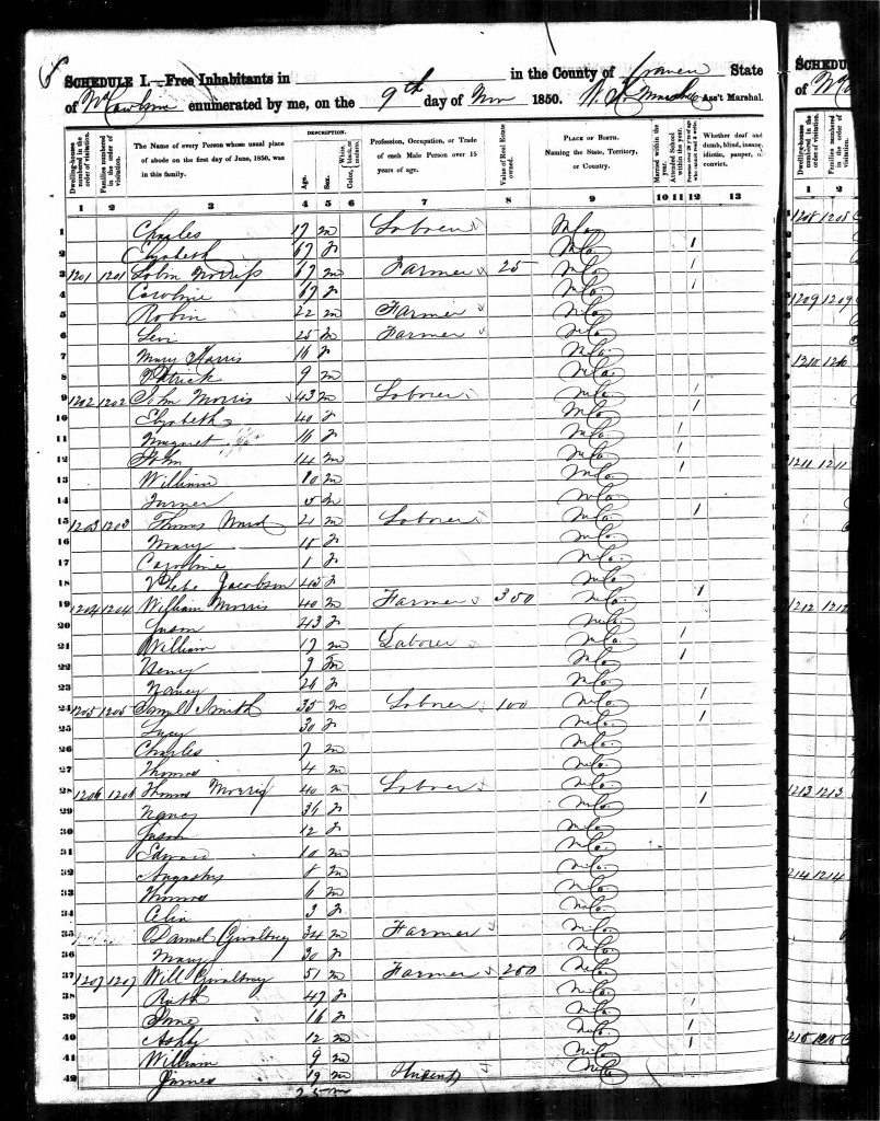 November 9, 1850 - Nancy MORRIS is in the household of William B. and Susan MacIntosh MORRIS. Her age is given as 26 here, meaning she was born about 1824.