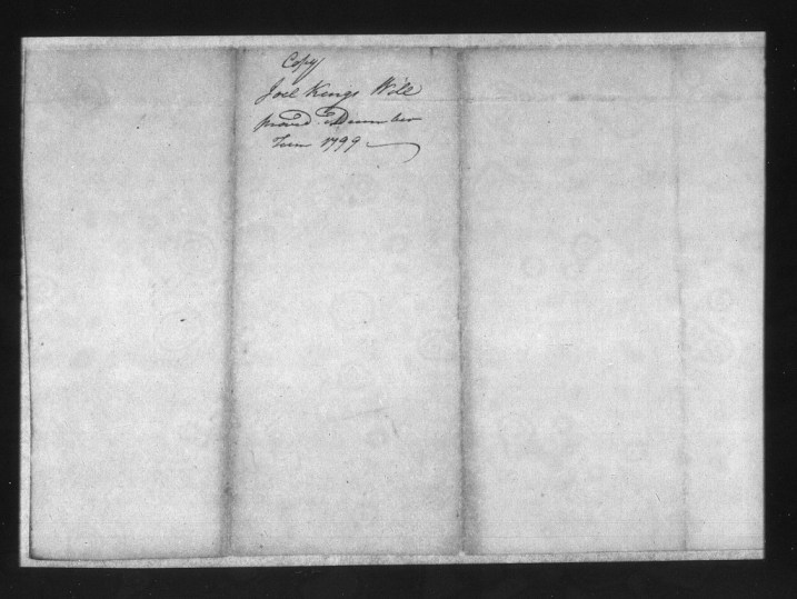 Will of Joel King, 1799 - Craven County - Cover