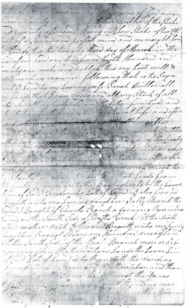 Will of Arthur Butler, Craven County - 1823 p1