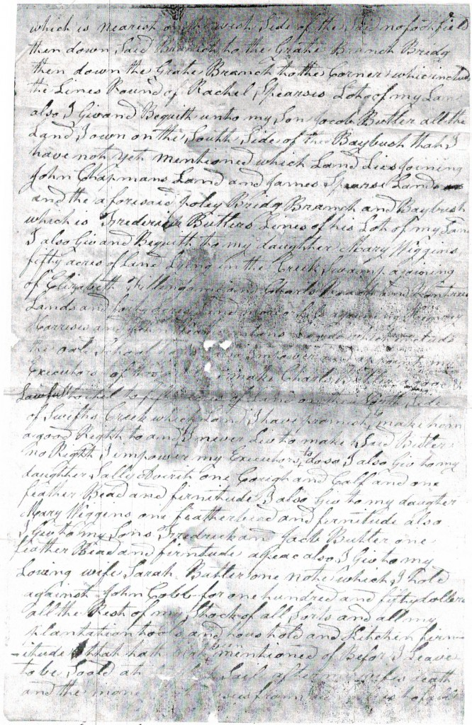 Will of Arthur Butler, Craven County - 1823 p2