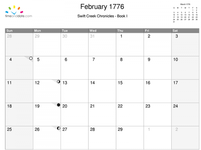 In February 1776, the full moon fell on the 5th, while the new moon was on the 19th.