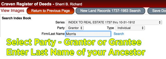 Choose Grantor or Grantee, then enter the last name of your ancestor.