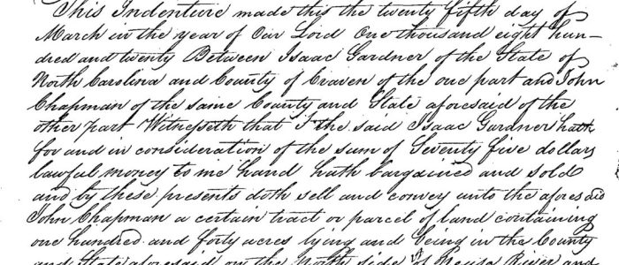 Isaac Gardner to John Chapman (1820) – Craven County