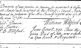 William Whitford to Thomas Whitford (Craven County, 1748)