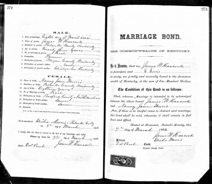 Nancy Jane Morris marriage bond