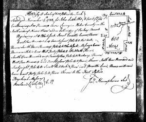 Plat for John Ledbetter land grant (1779/1785), mentions Rowland Ledbetter as chain carrier