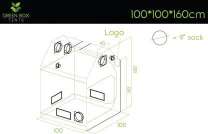 Green Box Roof Grow Tent 100x100x160 dimensions