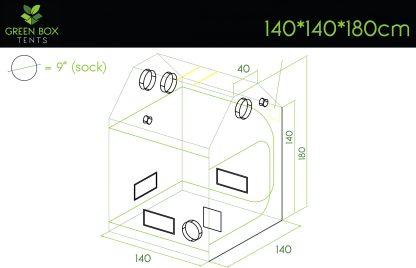 Green Box Roof Tent 140x140x180-dimensions