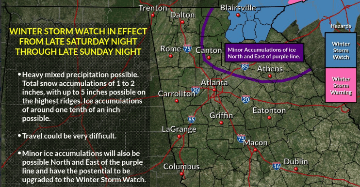 Winter Storm Warning for areas close to NC-VA line