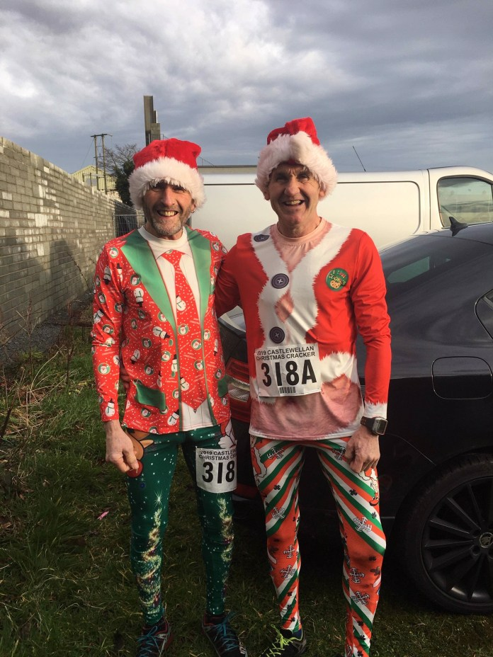 John Kelly Newcastle AC and Dee Murray East Down AC al enjoying the fun at the Christmas Cracker on Saturday in Castlewellan