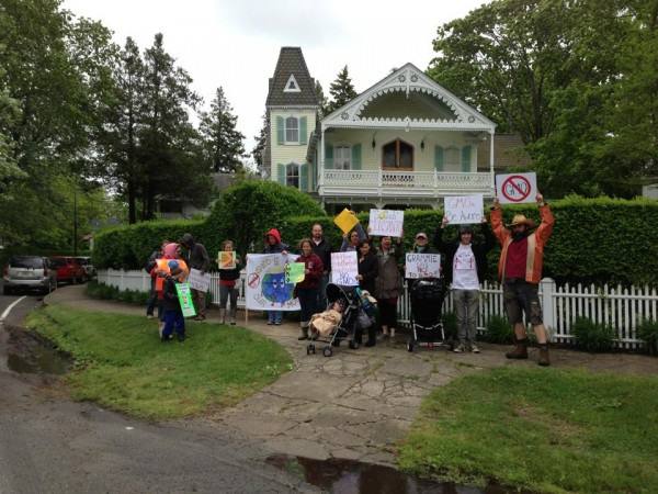 Protesting at the leaning tower of Shelter Island. Victoria Shields Weslek facebook photo