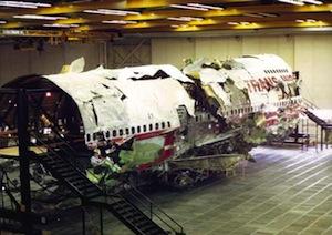 Flight 800 during the investigation at Grumman in Calverton   NTSB photo
