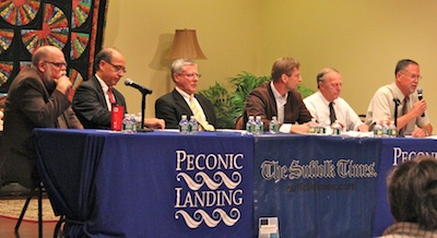 Southold Trustee candidates also get grilled. (l-r: Mr. Funke, Mr. Finora, Mr. Wells, Mr. Sanders, Mr. Domino, Mr. Bredemeyer)