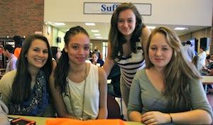 Mattituck High School students Julia Orlando, Adrianna Lawson, Samantha Kaelin and Ramzi Butler-Kelly at Friday's Youth Leadership Summit