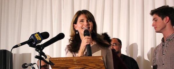 Anna Throne-Holst speaks at Democratic headquarters