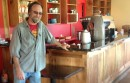 Greenport Mayor David Nyce with the new bar he built at Aldo's this spring.