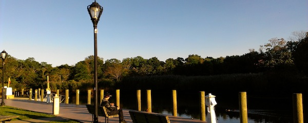 The boardwalk along the Peconic River, where photographer Meryl Spiegel would like to exhibit photographs celebrating Riverhead