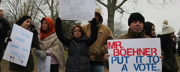 Supporters of comprehensive immigration reform gathered in Southampton Sunday