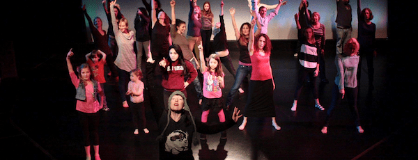 The dancers at last year's One Billion Rising event at Bay Street Theatre | Tom Kochie photo