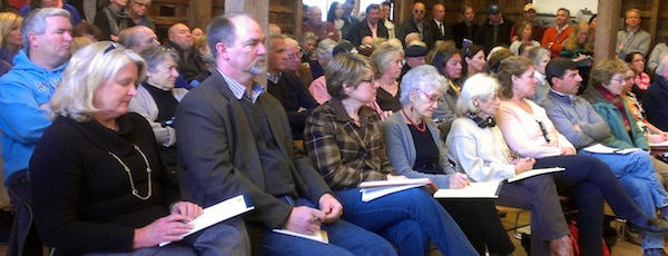 Members of the East Hampton Town Board at a recent meeting (Ms. Burke-Gonzalez is third from left)