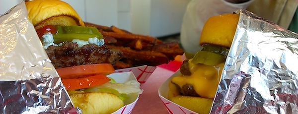 Two big beef burgers from Boom! Burger, and an order of sweet potato fries. What else do you need in life?