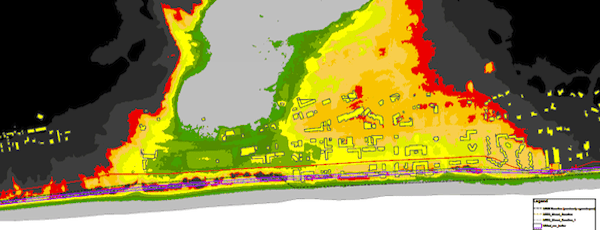The Army Corps' flood inundation map for downtown Montauk.