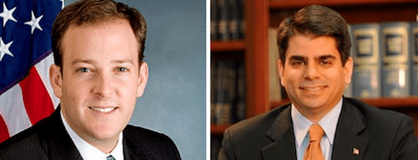 Lee Zeldin (left) and George Demos are facing off in a Republican primary for the First Congressional District on June 24.