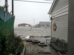 The view of the Waterfront Fund site from Legends during Hurricane Sandy.