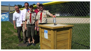 Anthony Mammina built wooden recycling bins for Riverhead High School for his Eagle Scout project.