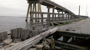 The gap between the bridge abutment and the bridge itself makes for a hazardous fishing trip.