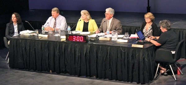 The East Hampton Town Board takes testimony on airport noise.