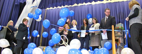The Phillips Avenue School community cut the ribbon on their new food pantry Thursday morning.