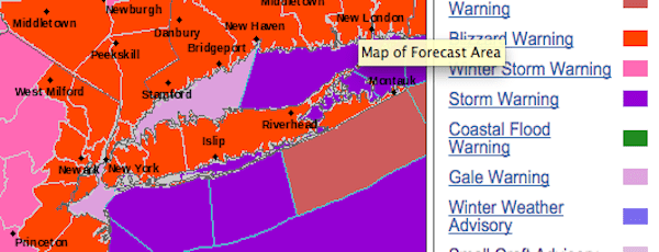 All of Long Island is under a blizzard warning beginning 1 p.m. today.