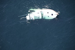 A sinking fishing boat off of Shinnecock Inlet Sunday morning | Coast Guard photo