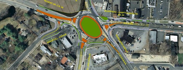 A diagram of the county's proposed realignment of the Riverside traffic circle