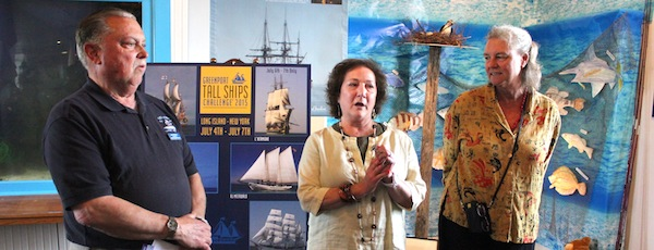 East End Seaport Museum Board Chairman Ronald Breuer, Vice-Chairwoman Arlene Klein and this year's Maritime Festival Grand Marshal Pat Mundus.
