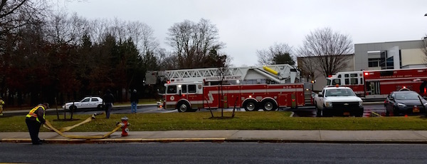 RFD responds to the Riverhead High School Sunday afternoon.   beth young photo