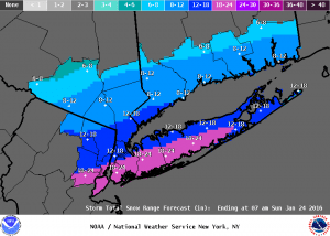 NWS Snow Accumulation Forecast, 6:06 a.m. Jan. 23.