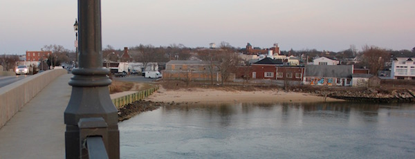 The site of the proposed park, as viewed from the Sag Harbor bridge.
