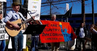 North Fork singer-songwriter Robert Bruey at Thursday's vigil in Patchogue