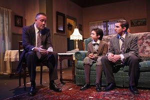 Russell Weisenbacher (Eddie) consoles his sons before heading off to work as a traveling salesman. | Tom Kochie photo