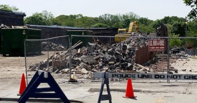 The Sears building in Riverhead was nearly demolished by Thursday afternoon.