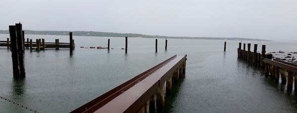 Wednesday rain on the New Suffolk waterfront.