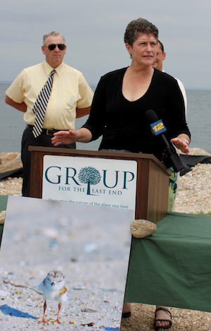 Southold Councilman Bill Ruland and Conservation Biologist Louise Harrison at Friday's press conference.