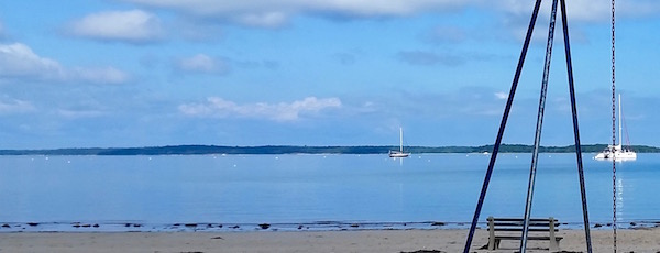 Sag Harbor's outer mooring field, as viewed Monday from Havens Beach.