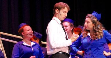 "Bobby Peterson as Frank Abagnale, Jr., with the Jet Set in RFCT's new production of ""Catch Me If You Can."""