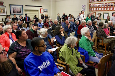 The crowd at Thursday's Greenport Village Board meeting.